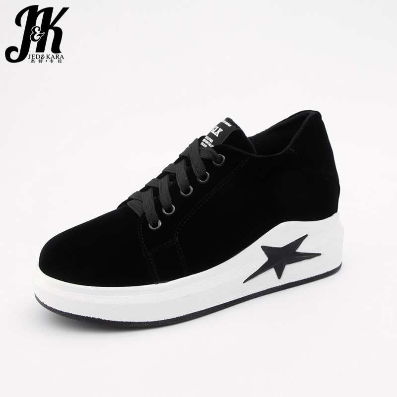 JK Fashion Women Flats Lace Up Flock Flat Platform Round Toe Girl Sneakers Shoes 2018 Spring Flat Outsole Ladies Elevator Shoes