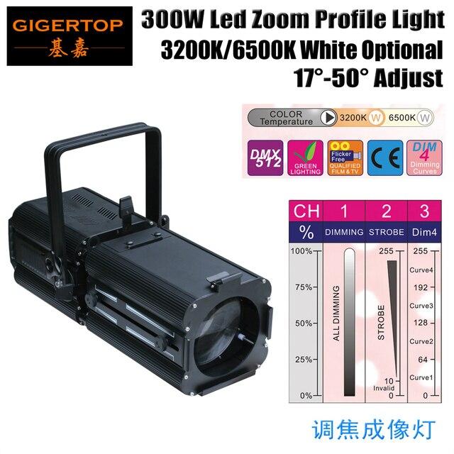 TIPTOP Lighting 300W High Power Brightness LED Profile Spot Light Aluminum Color Pattern Frame Warm White 3200K/6500K Optional