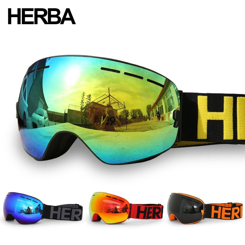 Nuovo HERBA marca occhiali da sci Doppia Lente UV400 Anti-fog Adulto Snowboard Sci Occhiali Degli Uomini Delle Donne Da Neve Occhiali