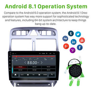 """Seicane Android 8.1 9\"""" Car Stereo Multimedia Player for Peugeot 307 2007 2008 2009 2010 2012 2013 Auto Radio GPS Navigation 3G"""