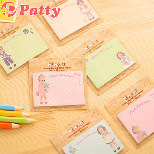 10 pcs/Lot Paper doll mate Memo pad Post sticky notes Removable adhesive paper cute stationery material School supplies F651