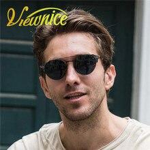 Viewnice Retro Fashion Man wooden gafas De sol lunette de soleil homme Round sunglasses Metal Eyewear Eyebrows glasses 5360