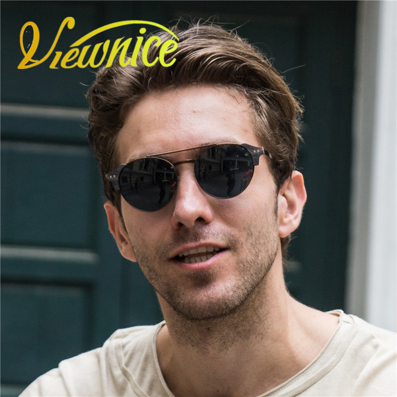 Viewnice Retro Fashion Man gafas aus holz De sol lunette de soleil homme Runde sonnenbrille Metal Eyewear Eyebrows glasses 5360