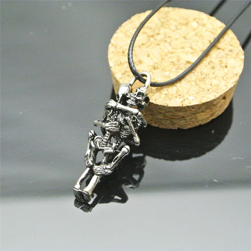 Infinity Charm Stainless Steel Skeleton Skull Pendant Chain Necklace Couple Gift