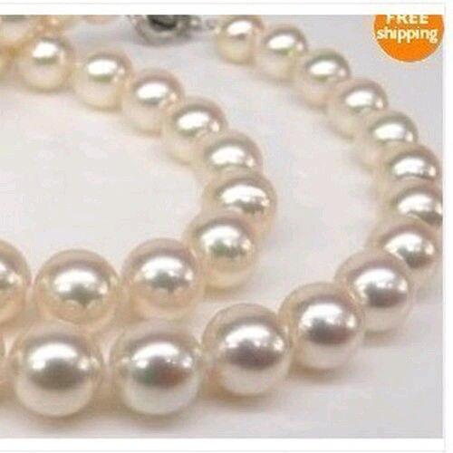 Collier de perles blanches AAA 9-10 MM réel mer du sud> bijoux de corps bijoux de charme