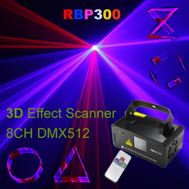 AUCD Mini 3D Remote 600mw Red Blue Pink Beam Laser DMX 512 Light Scanner DJ Disco