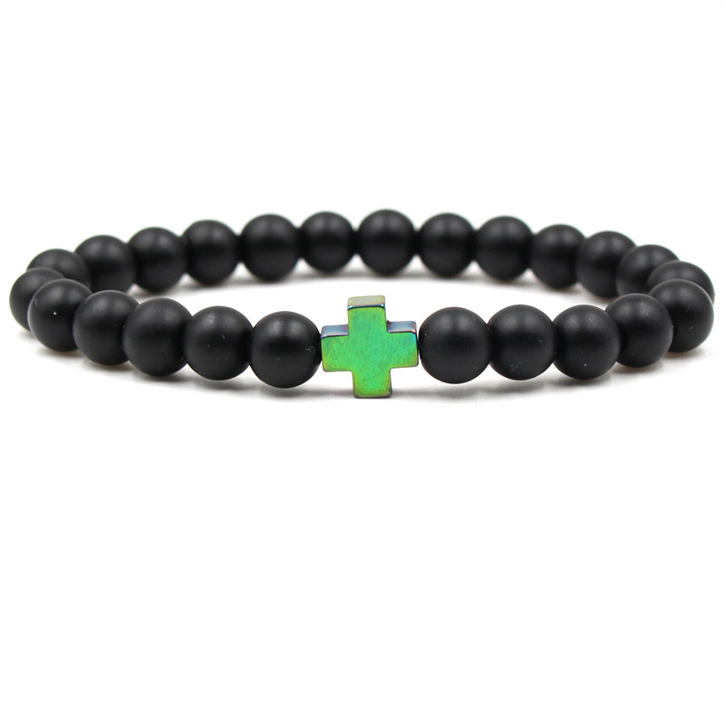 New 8mm Natural Lava Stone Beaded Hematite Gallstone Cross Bracelet Yoga Jewelry