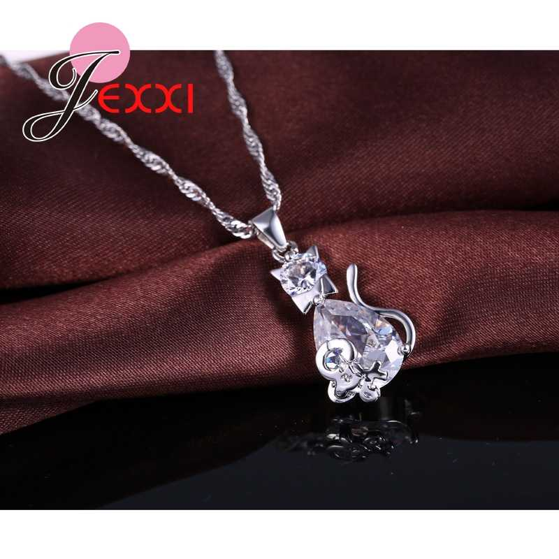 Cute White Cat& Mouse Jewelry Sets 925 Sterling Silver CZ AAA Cubic Zirconia Crystal Mother Day's Gift Jewelry Sets