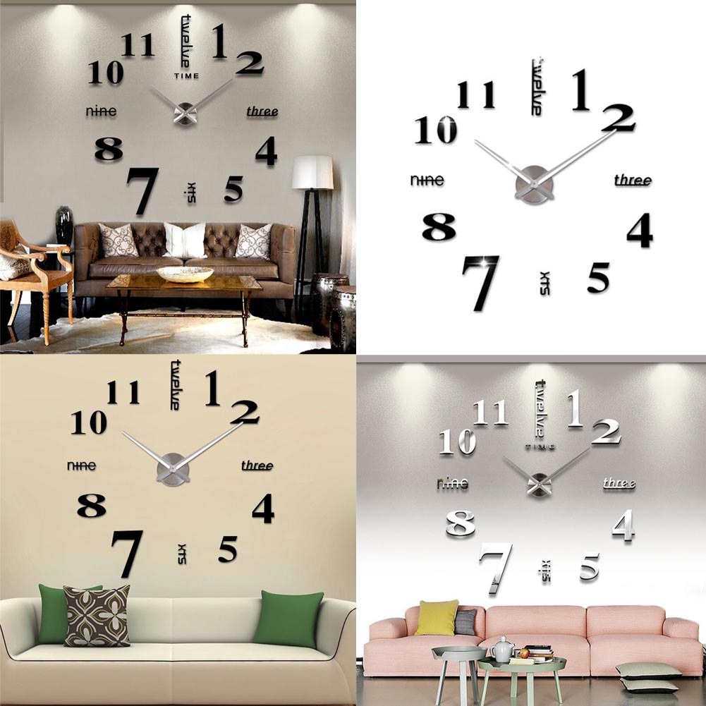 Diy large acrylic mirror wall clock 3d numbers design for 3d acrylic mirror wall sticker clock decoration decor