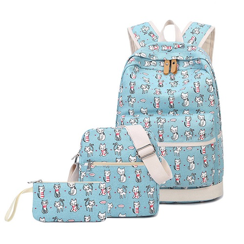3 Pcs/Set School Backpack Cartoon Cat Printed School Teenage Canvas Backpacks Shoulder Bags