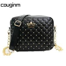 COUGINM Fashion Women Messenger Bags Rivet Chain Shoulder Bag High Quality PU Leather Crossbody Crown bags