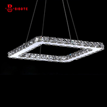 modern stainless steel crystal ring led chandelier lighting lustres with remote control lights for living room chandeliers avize