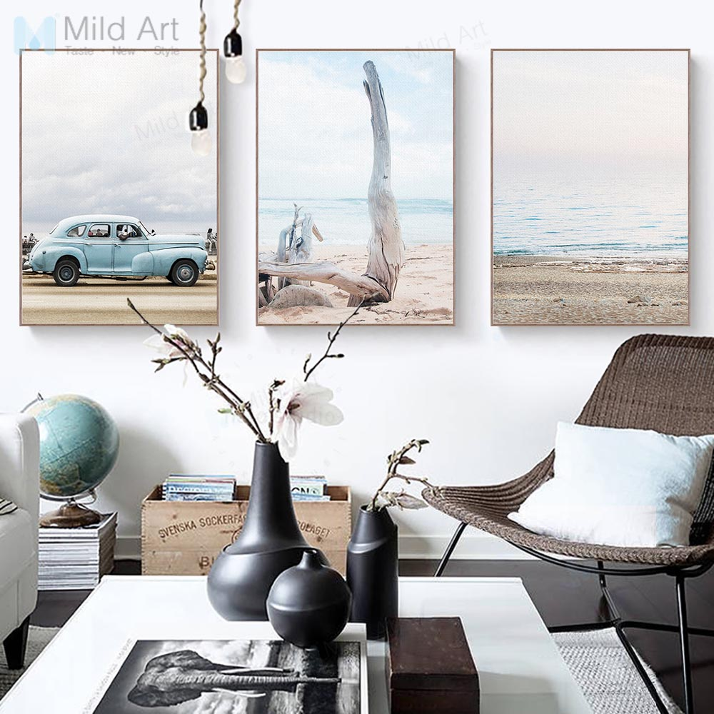 Vintage Blue Car Sea Beach Landscape Poster Prints Nordic Style ...