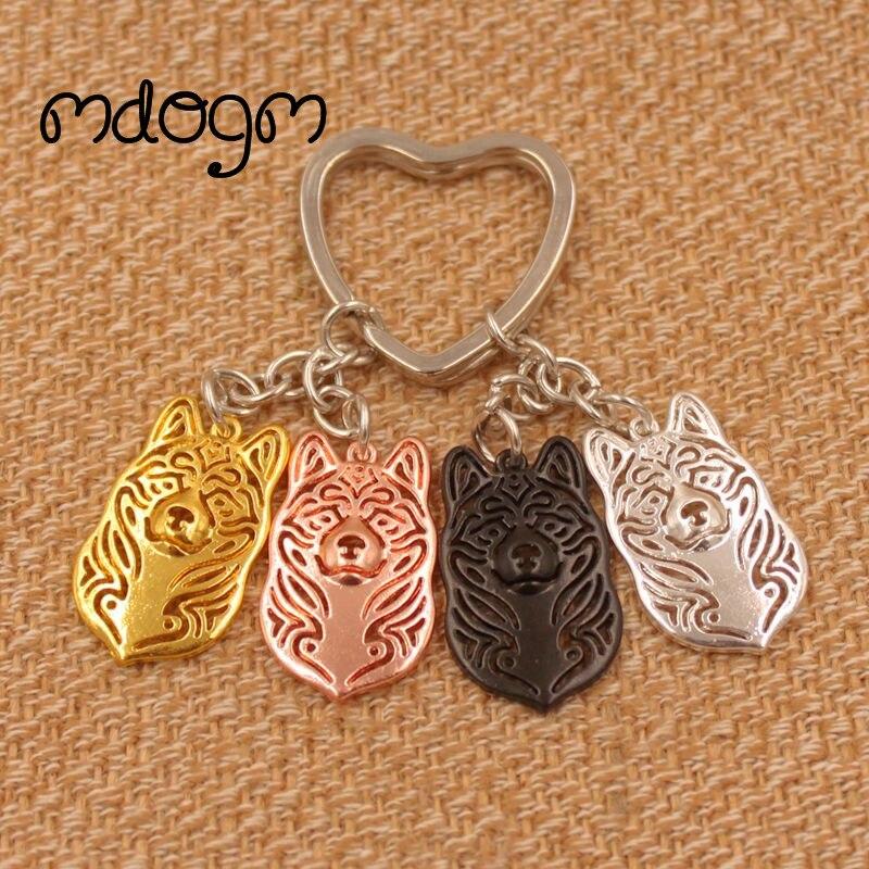 2019 Cute Akita Dog Animal Gold Silver Plated Metal Pendant Keychain For Bag Car Women Men Girls Boys Love Jewelry K074