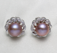 Freshwater Pearl Earrings Fashion Brand Flower Natural Pink White Purple Micro Pave Cubic Zirconia 8 9mm