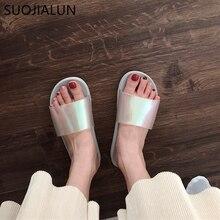 SUOJIALUN New Brand Slippers Women Summer Shoes Open Toe Anti Slip Indoor Home Beach Flip Flops Sandal Slides