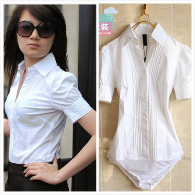 Designer Women's White OL Conjoined shirt Office Designer White ...