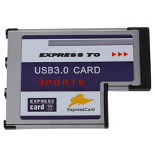 3 Port USB 3.0 expresscard 54mm PCMCIA expresscard do laptopa nowy(China)