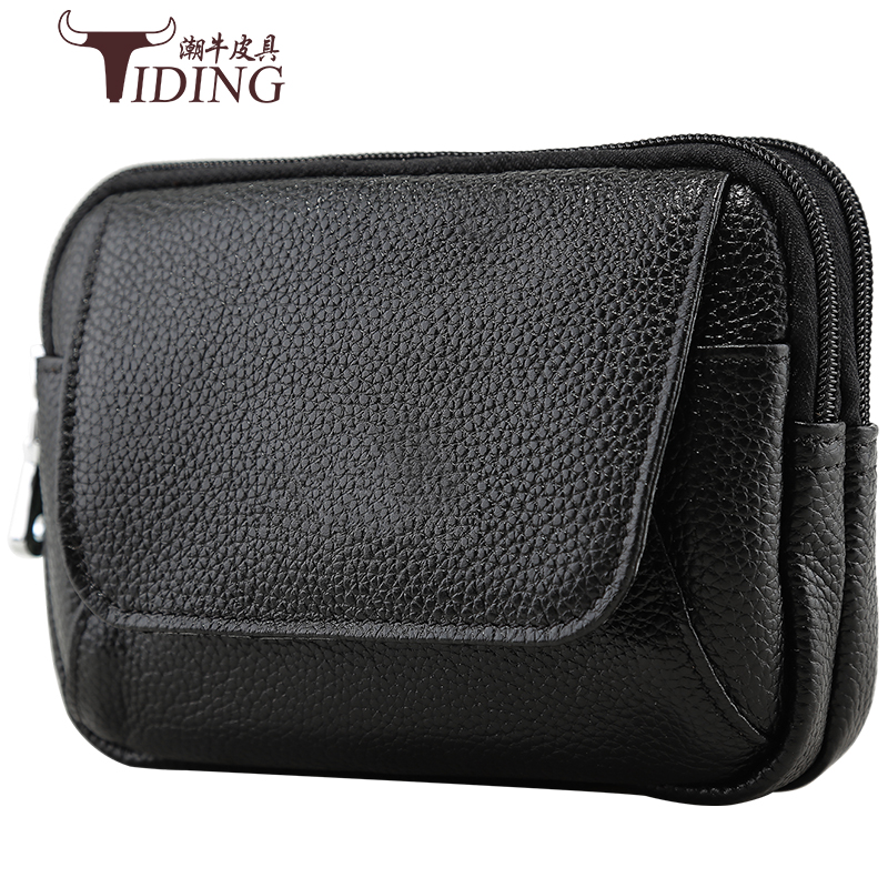 Man Cow Leather Black  Fashion Waist Travel  Bag 2018 Men Small Mobile Genuine Leather Casual Vintage Mini Hanging Bags Packs