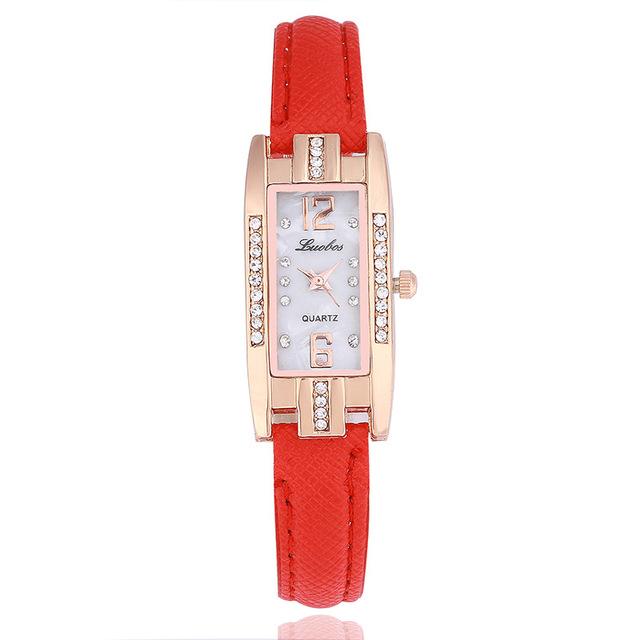 New 2018 Small Dial Women casual wristwatch Ladies Leather rhinestone Quartz Watch female Elegant Simple rectangle dress clock