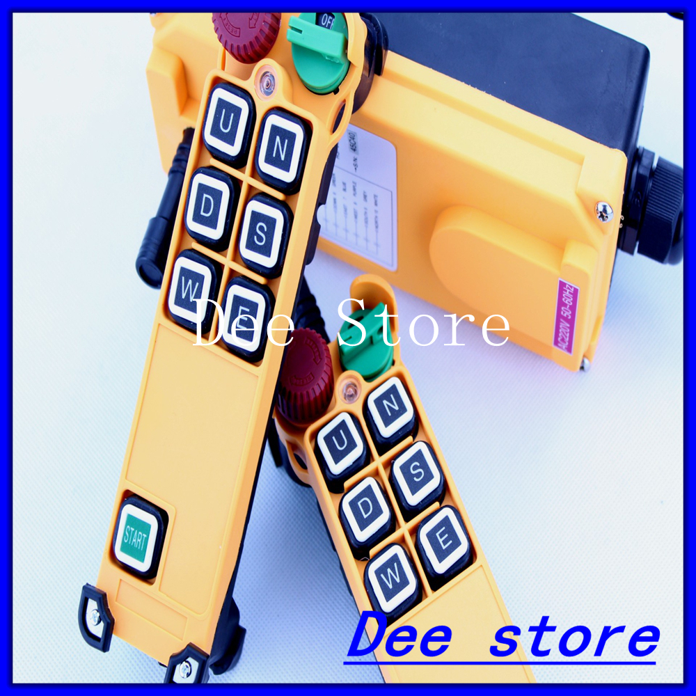 Free Shipping 6 Channel 1 Speed 2 transmitters Hoist Crane Truck Radio Remote Control Push Button Switch System with E Stop