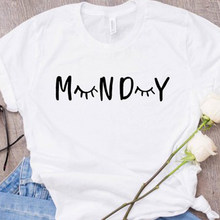 42987ab5 Monday T Shirt Women Causal Eyelash Shirt Short Sleeve Monday Tee Fashion Women  Sleep Tumblr 90s T Shirt Lashes Shirt Tops