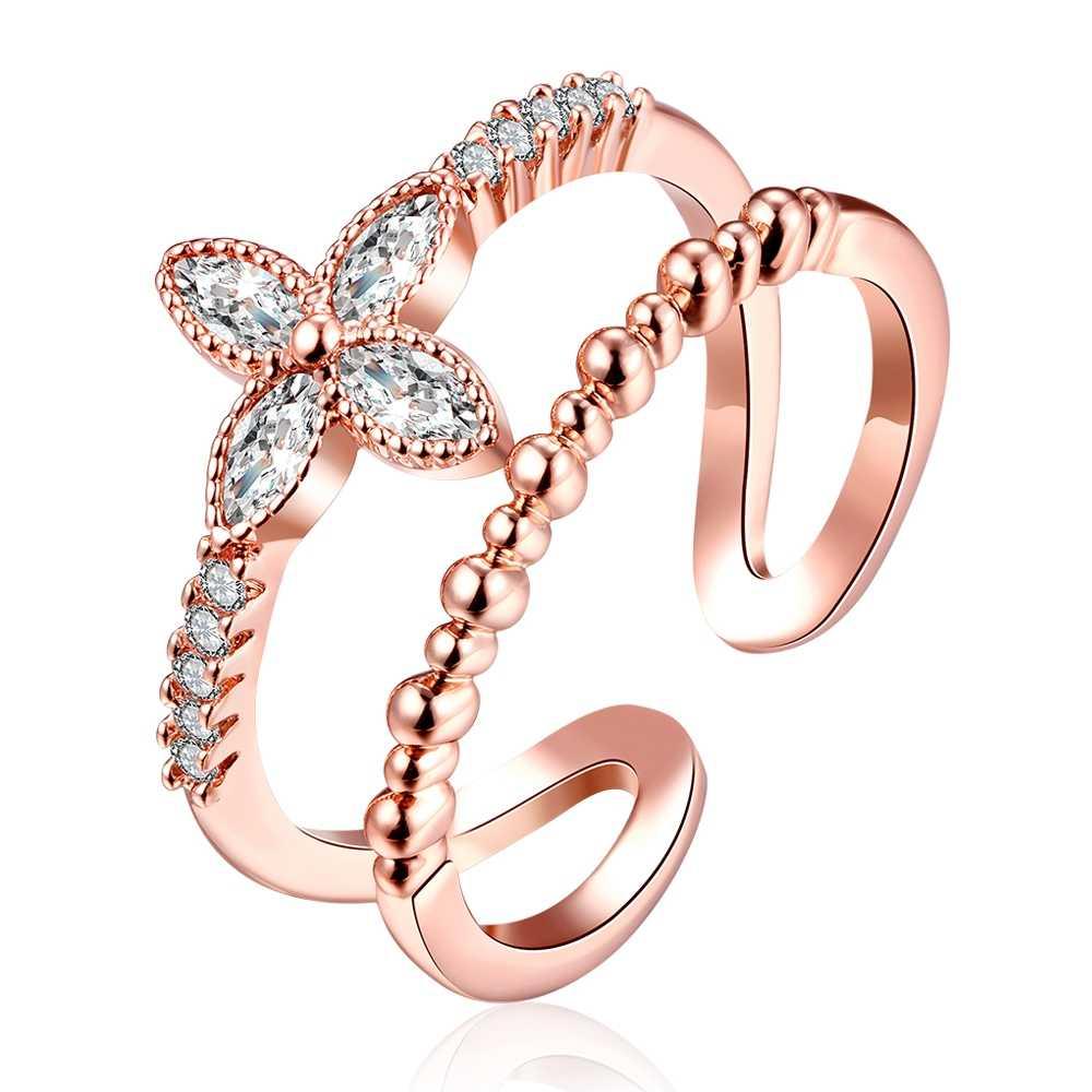 2495052118af Moda Venta caliente anillos de puño para mujeres niñas Boda nupcial encanto  austriaco cristal flor joyería