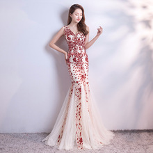 Long lace Mermaid Evening Party Dress V Neck Sexy Tulle SequinS Prom Gowns 2019 Appliques sleeveless pleated Formal Dress