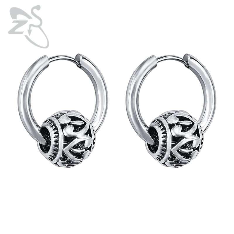 ZS Hoop Earrings Fashion Jewelry Round Ball Heart Hoop Earrings 316 Stainless Steel aros bijoux femme Ear Hoops boucle d'oreille