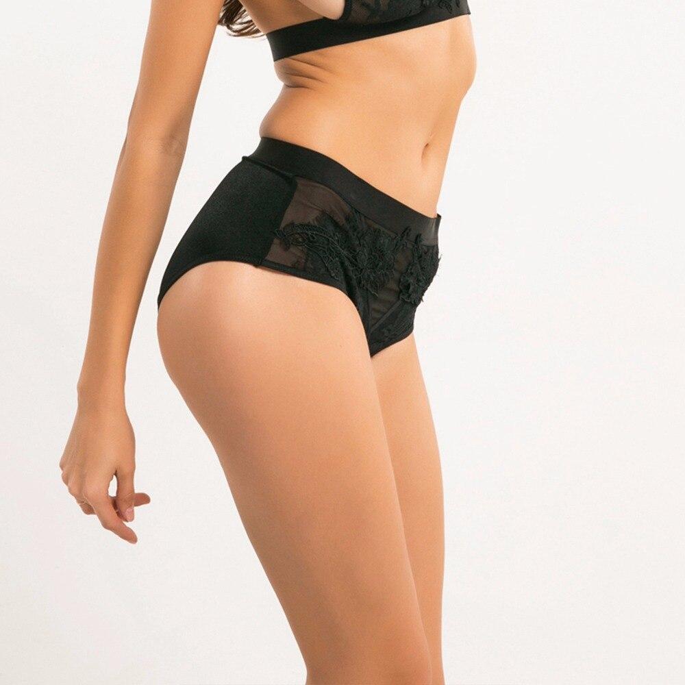 Sexy Preto Transparente de Renda Bordado Cintura Alta Calcinha Sem Costura  Cuecas Mulheres Cuecas lingerie ropa interior mujer Bragas em de no ... 42c7c65dab6