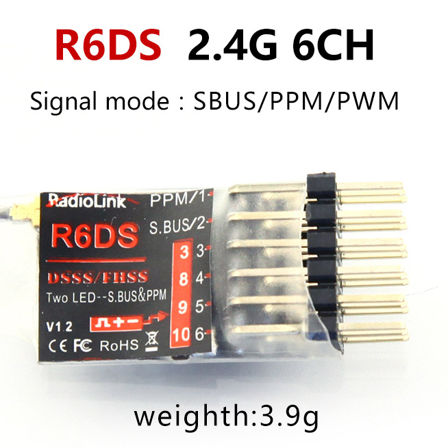 Radiolink R12DSM R12DS R9DS R8FM R6DSM R6DS R6FG Rc приемник 2,4G усилитель сигнала для передатчика радиоуправляемой модели AAT9/AT9S/AT10/AT10II - Цвет: R6DS