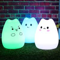 7 Color Changing Silicone Animal Cat Rechargeable USB LED Night Light Lamp For Children Night Lamps