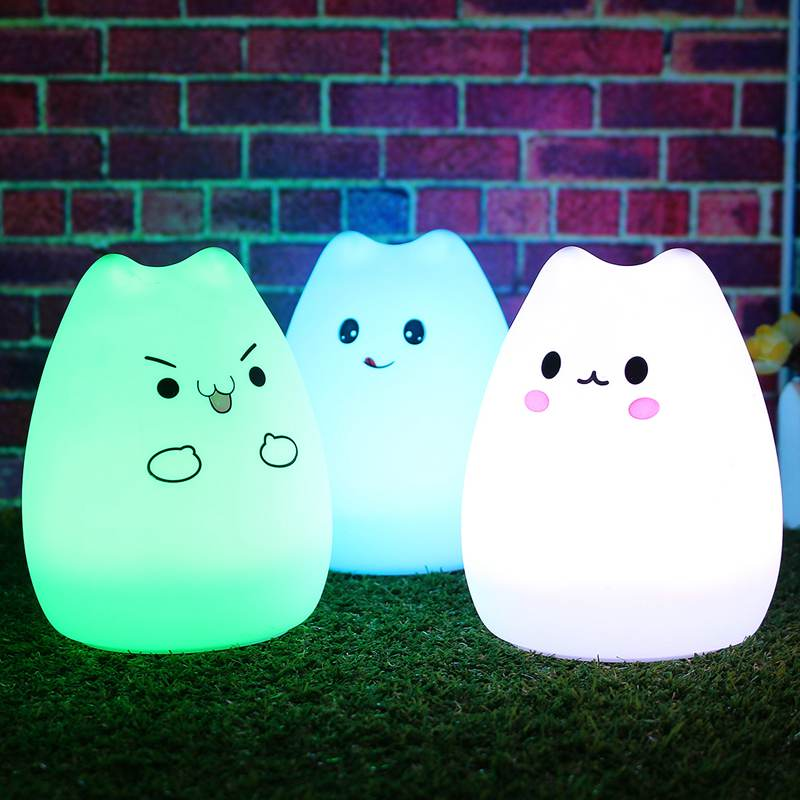 7 Color Changing Silicone Animal Cat Rechargeable USB LED Night Light Lamp For Children Night Lamps For Bedroom With Remote color change remote control led animal shape night light