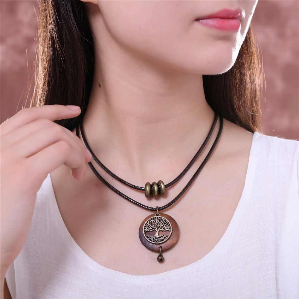 2019 Woman chokers Necklaces vintage Jewelry Tree Design Wooden pendant Wholesale Long necklace for women collares mujer kolye