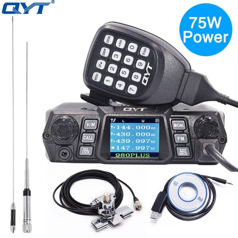QYT KT-980PLUS Haute Puissance 75 w (VHF)/55 w (UHF) double Bande Quad De Base Veille Mobile Radio Amateur Émetteur-Récepteur Voiture Radio JAMBON KT980PLUS