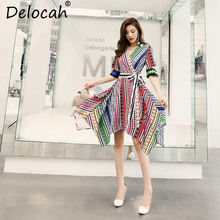 Delocah 2019 Women Spring Summer Vintage Dress Runway Fashion V-Neck Bow Tie Striped Printed Elegant Asymmetrical Shirt Dresses industrial loft style edison wall sconce swing long arm vintage wall lamp iron adjustable wall light fixtures indoor lighting
