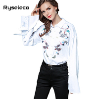 Ryseleco OL Blouses Vintage Hand Painting Embroidery Long Flare Sleeve Casual Shirts Camisas Femininas White Ties