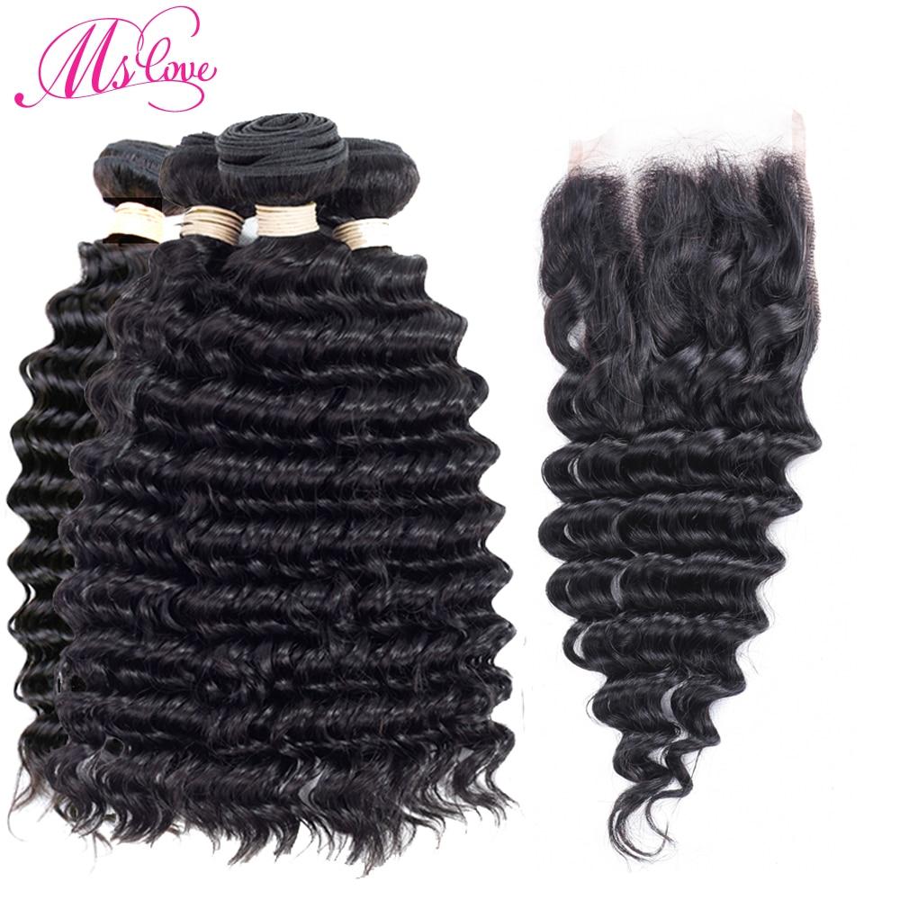 Перуанский глубокая волна Человеческие Волосы 4 Связки с 4*4 свободная часть Синтетическ ...