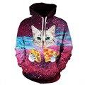 Jiekanila 2016 espaço galaxy 3d camisolas dos homens hoodies thrasher impressão adorável cat nebula outono inverno com capuz fino casaco com capuz tops