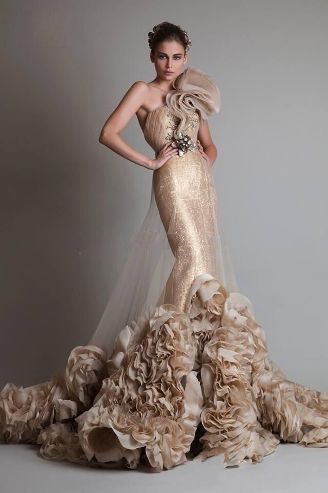 2015 Brillant Une Épaule Robe de Soirée Moyen-Orient Conception Arabe Robe De Bal s Avec Cour Train robes de festa