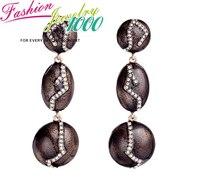 Vintage Brown Color Stone Drop Earrings Fashion Rhinestone Jewelry For Women