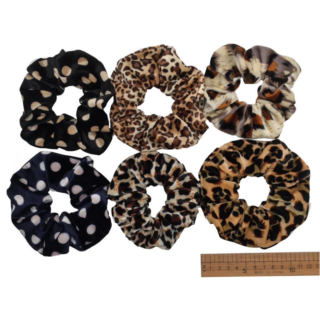 6 шт/лот Бархатные эластичные резинки для волос, резинки для волос для девочек, не складываются, леопардовые женские большие мелкие блестки из шифона с цветочным рисунком - Цвет: PJ020-6PCS