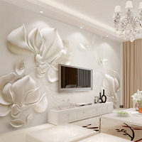 3D Wallpaper Modern Stereoscopic Gypsum Embossed Magnolia Photo Wall Mural Living Room TV Sofa Backdrop Wall