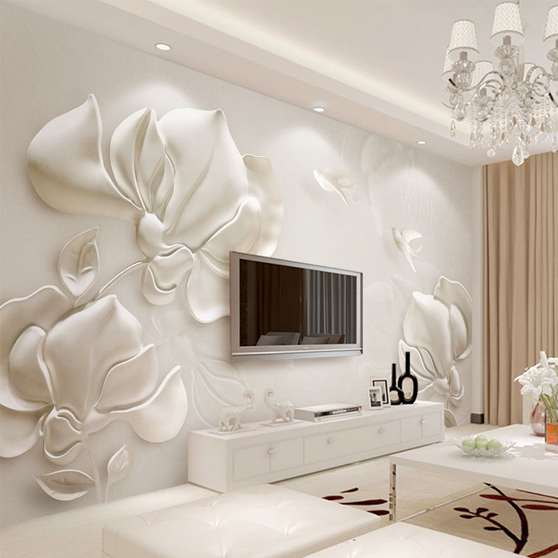 3D Wallpaper Modern Stereoscopic Gypsum Embossed Magnolia Photo Wall Mural Living Room TV Sofa Backdrop Wall Covering Home Decor custom mural wallpaper european style 3d stereoscopic new york city bedroom living room tv backdrop photo wallpaper home decor