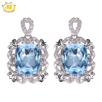Hutang Classic 7.32ct Blue Topaz Vintage Style Earrings Solid 925 Sterling Silver Fine Gemstone Jewelry Women's Gift Party