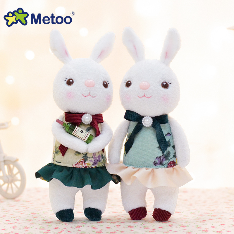 Metoo Mini Doll Plush Stuffed Toys Cute Classical Rabbit Plush Doll Sweet Toy for Kids Girl Birthday Gift Tiramitu Suft Dolls 1pcs 22cm fluffy plush toys white eyebrows cute dog doll sucker pendant super soft dogs plush toy boy girl children gift