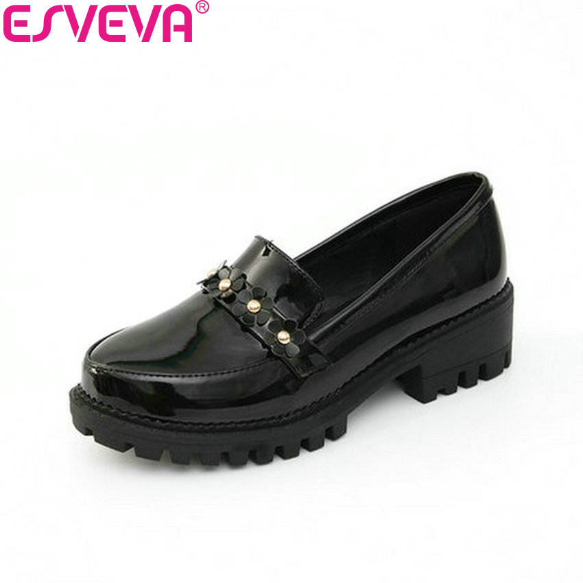 ESVEVA 2018 Casual Women Pumps Med Heels Slip on PU Leather Square Heels Round Toe Black Platform 1.5cm Ladies Shoes Size 34-39 guvoosm ladies med heels pumps women black casual sapato feminino rubber slip on shoes woman round toe big small size 31 43