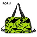 FORUDESIGNS Fluorescent Green Shark and Skull Rock Men Training Shoulder Bags Tote Outdoor Sport Travel Bag Duffel Waterproof