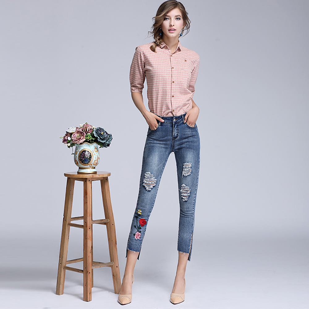 DTYNZ 2017 Ankle-Length Skinny Floral Embroidery High Waist Jean Women Sexy Ripped Denim Pencil Pant Ladies Blue Jeans 2017 spring new women sweet floral embroidery pastoralism denim jeans pockets ankle length pants ladies casual trouse top118