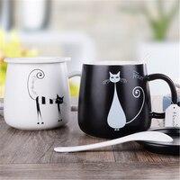 화이트 세라믹 고양이 머그잔 컵 선물 귀여운 맞춤형 Drinkware Fincans 텀블러 친환경 도자기 간략한 머그잔 핸드 그립 DDQ07